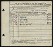 Entry card for Smeraldi, Anthony Mario for the 1943 May Show.
