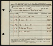 Entry card for Smith, Dorman H. (Dorman Henry) for the 1943 May Show.