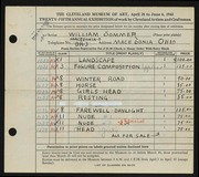 Entry card for Sommer, William for the 1943 May Show.