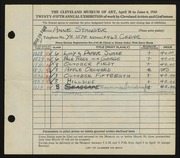 Entry card for Stanger, Anne for the 1943 May Show.