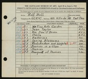 Entry card for Stoll, Rolf for the 1943 May Show.