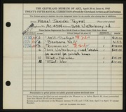 Entry card for Janicki, Hazel for the 1943 May Show.