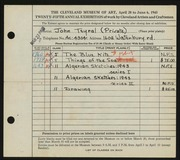 Entry card for Teyral, John for the 1943 May Show.