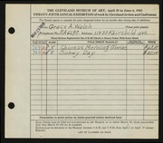Entry card for Walsh, Grace for the 1943 May Show.