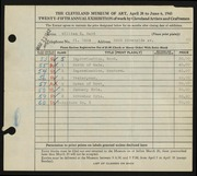 Entry card for Ward, William E. for the 1943 May Show.