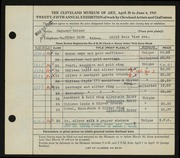 Entry card for Weiser, Raymond T., and Dellert, Norman for the 1943 May Show.