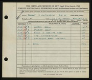 Entry card for Whitworth, Ernest for the 1943 May Show.