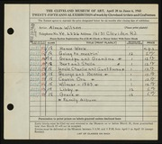 Entry card for Wilson, Alma for the 1943 May Show.