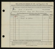 Entry card for Winter, Alice E. for the 1943 May Show.