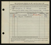 Entry card for Wood, Kenneth A. for the 1943 May Show.