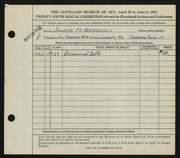 Entry card for Wooddell, Joseph M. for the 1943 May Show.