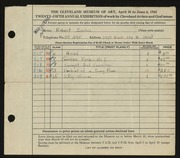 Entry card for Zerlin, Robert for the 1943 May Show.