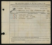 Entry card for Aczel, Joseph for the 1944 May Show.