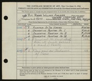 Entry card for Anliker, Roger William for the 1944 May Show.