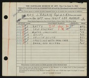 Entry card for Balkin, Max J. for the 1944 May Show.