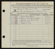 Entry card for Bandelow, Walter F. for the 1944 May Show.