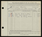 Entry card for Bartko, William for the 1944 May Show.