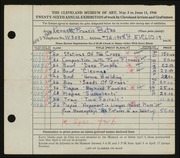 Entry card for Bates, Kenneth F. for the 1944 May Show.