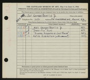 Entry card for Beattie, George for the 1944 May Show.