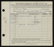 Entry card for Black, Miriam H. for the 1944 May Show.