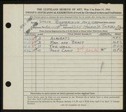 Entry card for Bodnarczuk, Steve for the 1944 May Show.