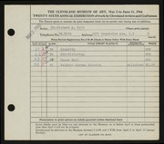 Entry card for Bolt, Dr. Richard Arthur for the 1944 May Show.