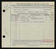 Entry card for Brahaney, Paul R. for the 1944 May Show.
