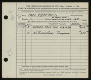 Entry card for Broemel, Carl William for the 1944 May Show.