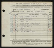 Entry card for Bulone, Joseph  for the 1944 May Show.