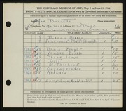 Entry card for Burdette, Ann Blaine for the 1944 May Show.