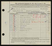 Entry card for Burton, Jack Munson for the 1944 May Show.