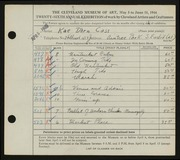 Entry card for Cass, Katherine Dorn for the 1944 May Show.