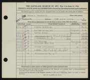 Entry card for Chamberlin, Price Albert for the 1944 May Show.