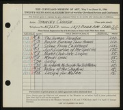 Entry card for Clough, Stanley T. for the 1944 May Show.