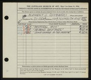 Entry card for Cykowski, Clement Allen for the 1944 May Show.