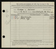 Entry card for Deike, Clara L. for the 1944 May Show.