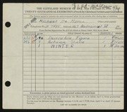 Entry card for De Marco, Michael for the 1944 May Show.