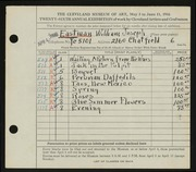 Entry card for Eastman, William Joseph for the 1944 May Show.