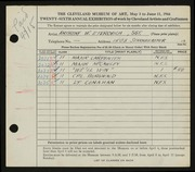 Entry card for Eterovich, Anthony William for the 1944 May Show.