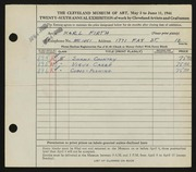 Entry card for Firth, Karl Warren for the 1944 May Show.