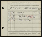 Entry card for Frankel, Godfrey B. for the 1944 May Show.