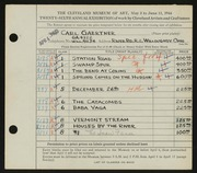 Entry card for Gaertner, Carl Frederick for the 1944 May Show.