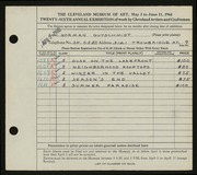 Entry card for Gutschmidt, Normal Paul for the 1944 May Show.