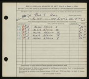 Entry card for Haas, Paul Thomas for the 1944 May Show.