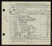 Entry card for Hall, Doris Elizabeth for the 1944 May Show.