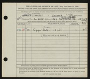 Entry card for Harbst, Frederick J., and Weber, Doris Martha for the 1944 May Show.