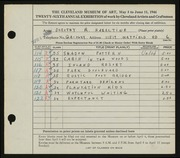 Entry card for Hazeltine, Dorothy R. for the 1944 May Show.