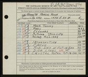 Entry card for Hugh, Kenneth Marcus for the 1944 May Show.