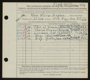 Entry card for Hughes, Mary Ruth Wilcox for the 1944 May Show.