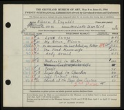 Entry card for Ingalls, Eileen B. for the 1944 May Show.